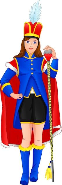 Ragazza carina che indossa un costume da leader della banda musicale Vettore Premium