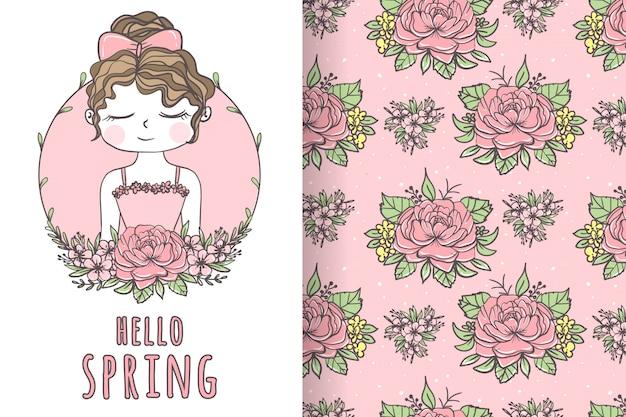 Ragazza carina con illustrazione e modello disegnati a mano fiore Vettore Premium
