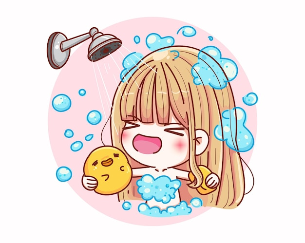 Ragazze carine doccia con design personaggio felice e dei cartoni animati. Vettore Premium