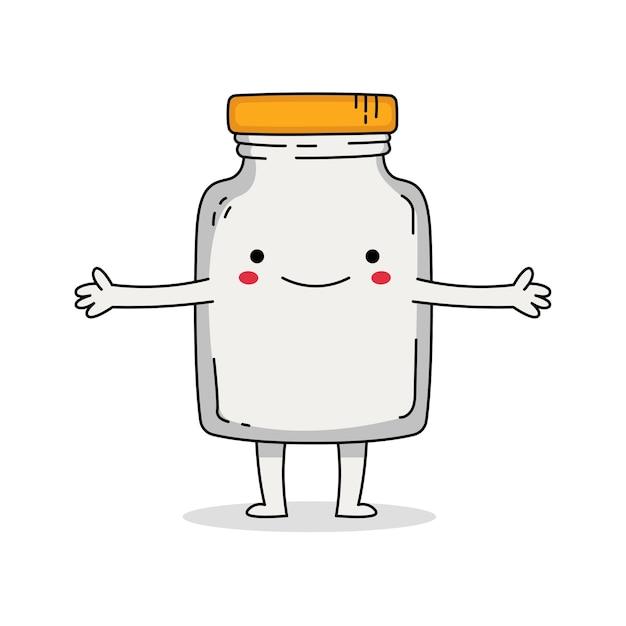 Simpatico personaggio dei cartoni animati di barattolo di vetro Vettore Premium
