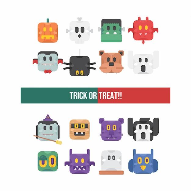 Simpatico set di caratteri di halloween Vettore Premium