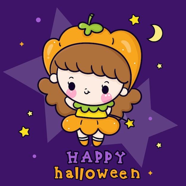 Cute halloween girl cartoon kawaii baby wear zucca vestito operato Vettore Premium