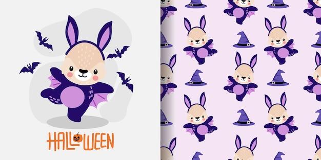 Cute halloween rabbit bunny fumetto doodle senza giunte illustrazione del modello Vettore Premium
