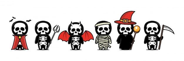 Simpatica mascotte teschio di halloween Vettore Premium