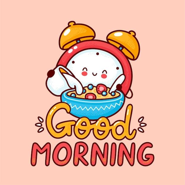 La sveglia felice sveglia versa il latte nei cereali. icona di carattere kawaii del fumetto di linea piatta. illustrazione di stile disegnato a mano. carta di buongiorno, concetto di poster di sveglia Vettore Premium