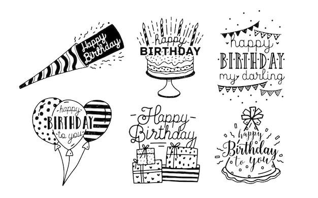 Iscrizioni di auguri di buon compleanno carino Vettore Premium