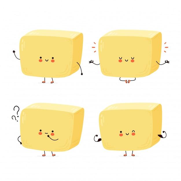 Collezione di set di caratteri carino burro felice. isolato su sfondo bianco personaggio dei cartoni animati disegnati a mano illustrazione stile Vettore Premium