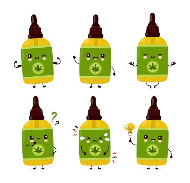Collezione di set di bottiglie di olio di cannabis cbd divertente felice carino. Vettore Premium