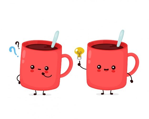 Tazza da caffè divertente felice carina con punto interrogativo e lampadina idea. personaggio dei cartoni animati illustrazione icona design.isolated Vettore Premium