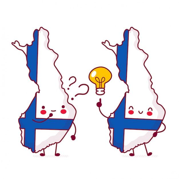 Carattere di mappa e bandiera di finlandia divertente felice sveglio con il punto interrogativo e la lampadina di idea. Vettore Premium