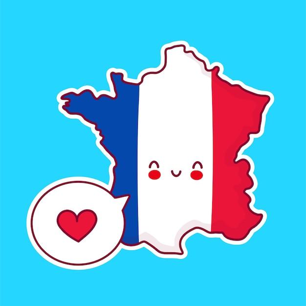 Carattere di mappa e bandiera di francia divertente felice sveglio con il cuore nel fumetto Vettore Premium