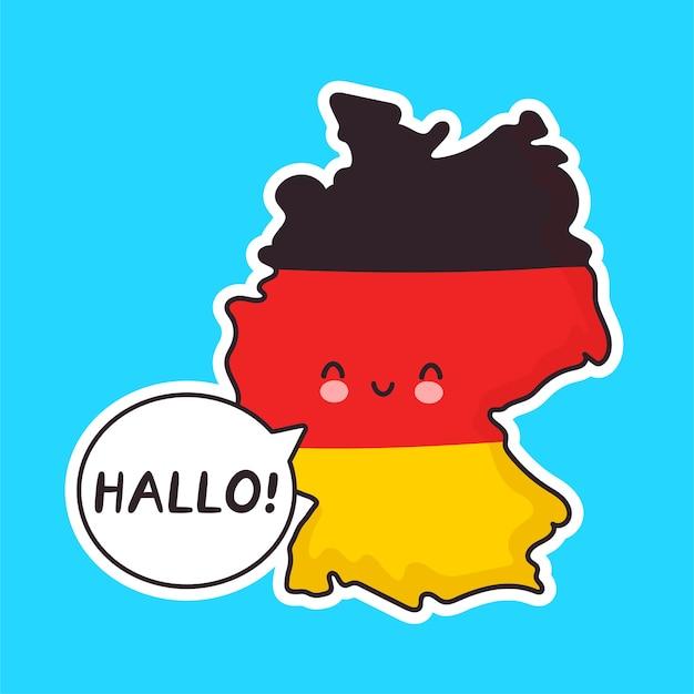 Carattere di mappa e bandiera germania divertente felice carino con hallo parola nel fumetto Vettore Premium