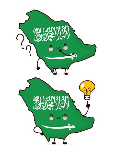 Carattere di mappa e bandiera dell'arabia saudita divertente felice sveglio con il punto interrogativo e la lampadina Vettore Premium