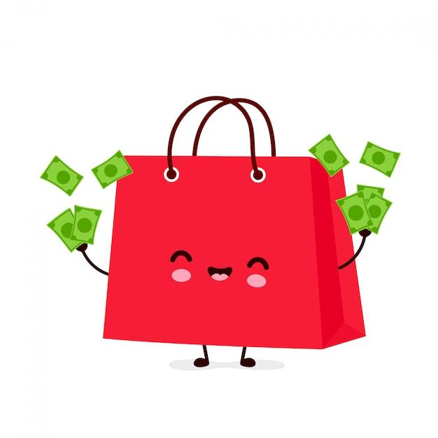 Sacchetto di acquisto divertente felice carino buttare soldi. personaggio dei cartoni animati illustrazione icona design.isolated Vettore Premium