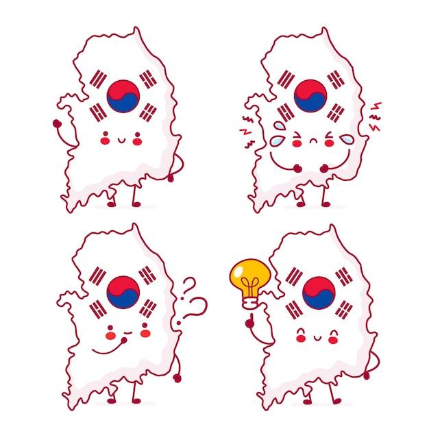 Carino felice divertente corea del sud mappa e bandiera set di caratteri di raccolta Vettore Premium