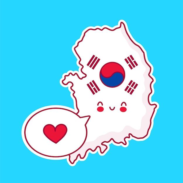 Carattere di mappa e bandiera di corea del sud divertente felice carino con cuore nel fumetto Vettore Premium