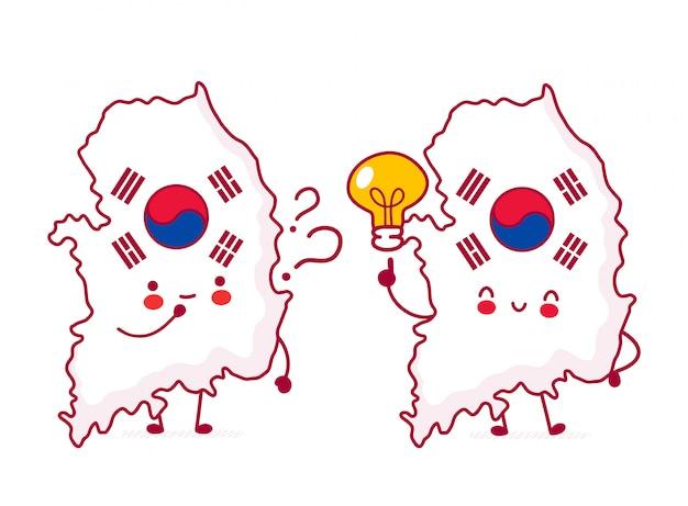 Carattere di mappa e bandiera della corea del sud divertente felice sveglio con il punto interrogativo e la lampadina. Vettore Premium