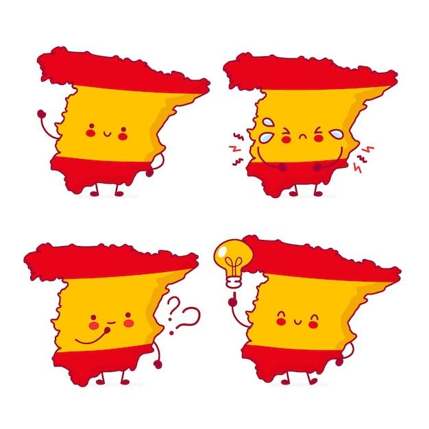 Carino felice divertente spagna mappa e bandiera set di caratteri di raccolta Vettore Premium