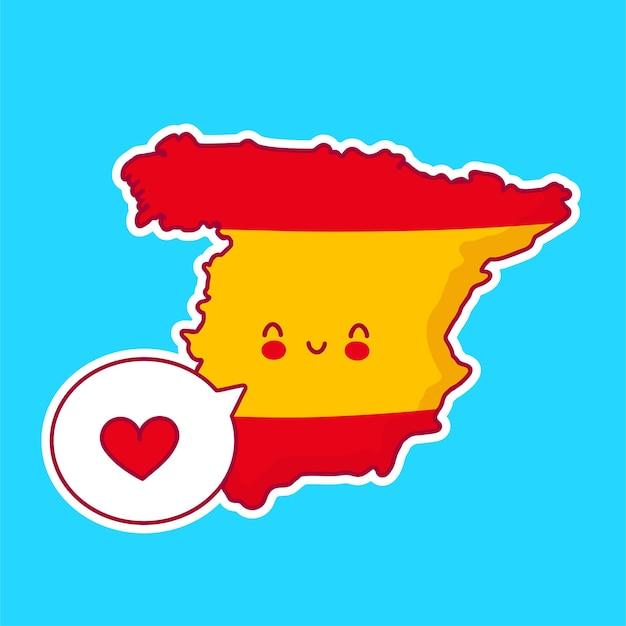 Carattere di mappa e bandiera di spagna divertente felice sveglio con il cuore nel fumetto Vettore Premium