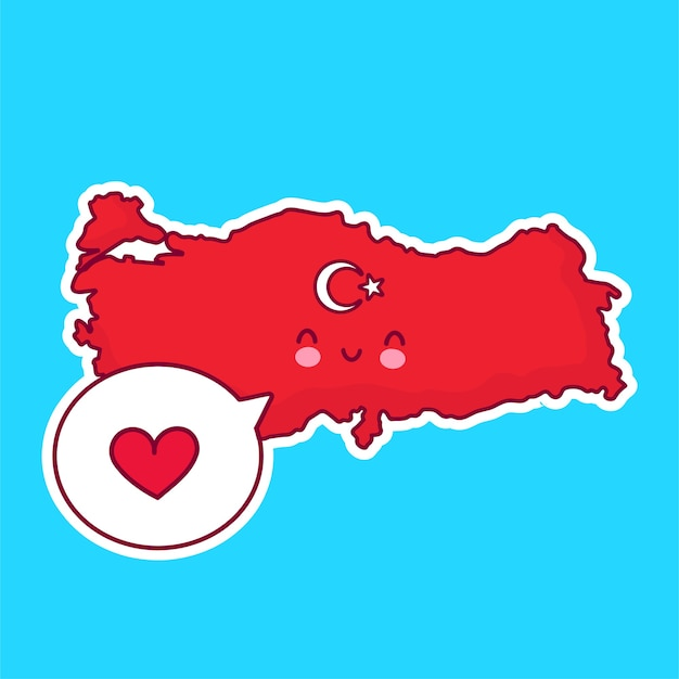 Carattere di mappa e bandiera di turchia divertente felice sveglio con il cuore nel fumetto Vettore Premium