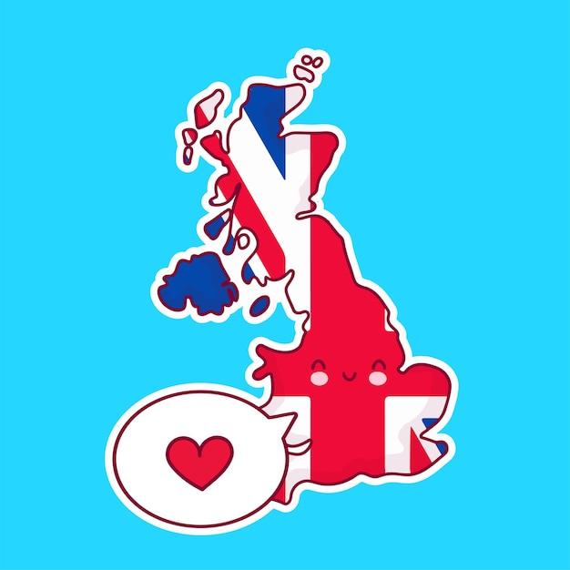 Carattere di mappa e bandiera del regno unito divertente felice sveglio con il cuore nel fumetto. linea cartoon kawaii carattere illustrazione icona. regno unito, inghilterra concept Vettore Premium