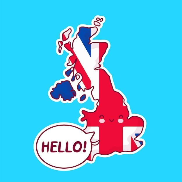 Carattere di mappa e bandiera del regno unito divertente felice carino con ciao parola nel fumetto Vettore Premium