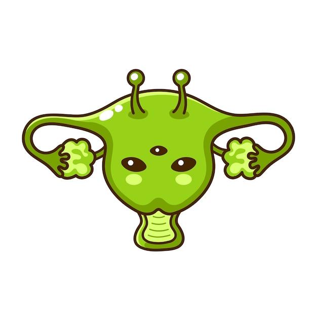 Carina donna divertente felice slien utero organo. icona di illustrazione di carattere kawaii del fumetto di linea piatta. isolato su sfondo bianco. utero alieno Vettore Premium