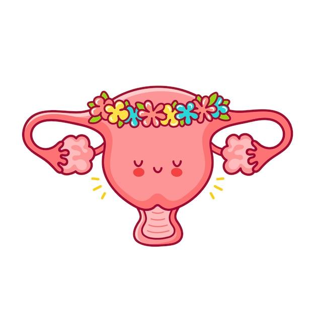 Organo di utero donna divertente felice carino in corona di fiori. Vettore Premium