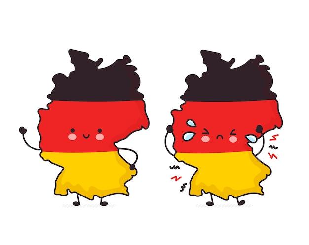Carattere di mappa e bandiera germania divertente felice e triste carino Vettore Premium