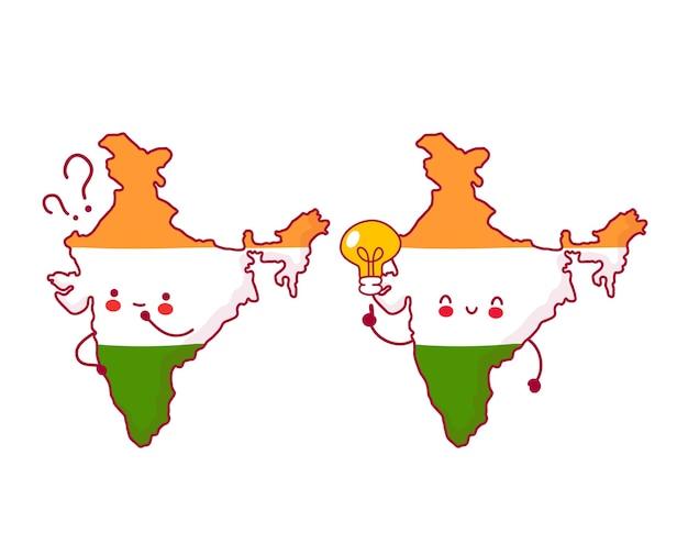Carattere di mappa e bandiera dell'india divertente felice e triste sveglio con il punto interrogativo e la lampadina di idea Vettore Premium