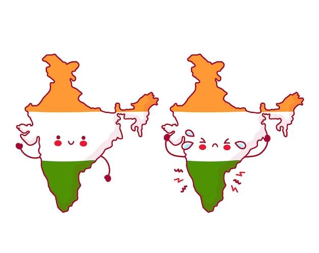 Carattere di mappa e bandiera dell'india divertente carino felice e triste Vettore Premium