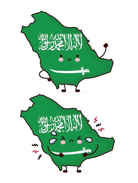 Carattere di mappa e bandiera dell'arabia saudita divertente carino felice e triste. linea cartoon kawaii carattere illustrazione icona. su sfondo bianco. concetto di arabia saudita Vettore Premium