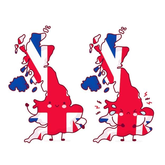 Carattere di mappa e bandiera del regno unito divertente carino felice e triste Vettore Premium