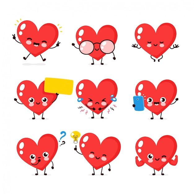 Collezione di set di caratteri sorridente felice carino cuore. concetto di carattere del cuore Vettore Premium