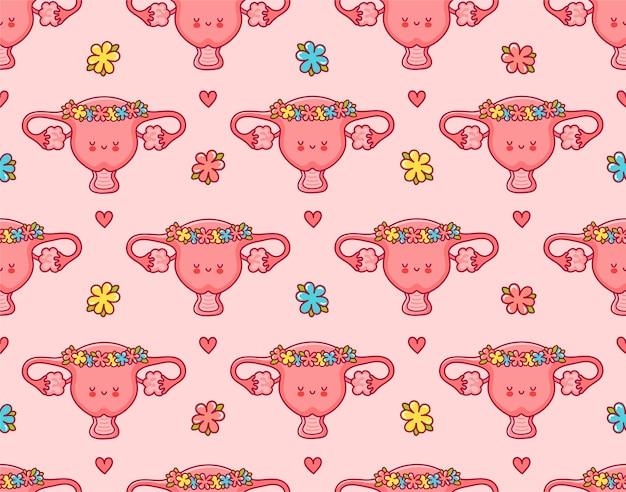 Organo di utero felice carino in ghirlanda di fiori senza cuciture. icona di illustrazione di carattere kawaii del fumetto di linea piatta. carino utero seamless pattern print design Vettore Premium