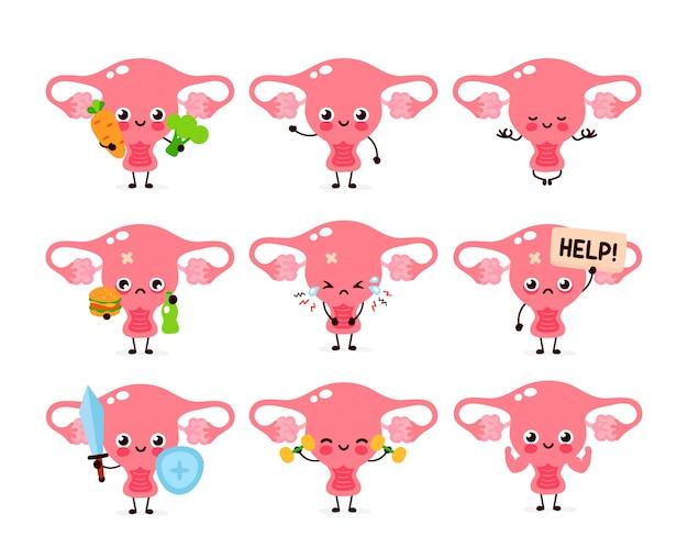 Collezione di set di caratteri di organo dell'utero felice sano donne felici. Vettore Premium