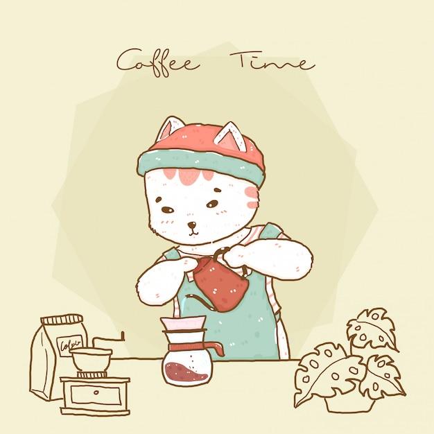 Barista sveglio del gatto dei pantaloni a vita bassa nel caffè americano di versamento del grembiule Vettore Premium