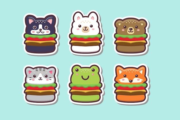 Illustrazione stabilita dell'autoadesivo del disegno dell'hamburger animale sveglio di kawaii Vettore Premium