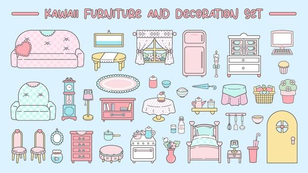 Simpatico set di mobili e decorazioni kawaii Vettore Premium
