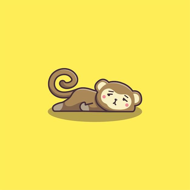 Scimmia pigra annoiata di doodle disegnato a mano sveglio di kawaii Vettore Premium