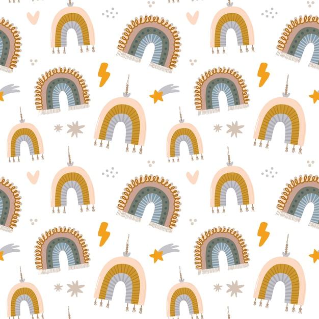 Modello senza cuciture di caratteri scandinavi di bambini svegli con citazioni alla moda e elementi disegnati a mano animali fantastici illustrazione di doodle del fumetto per baby shower, arredamento della stanza della scuola materna, design per bambini. . Vettore Premium