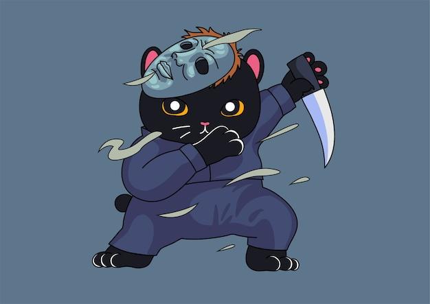 Simpatico gatto assassino tamponando mascotte di halloween Vettore Premium