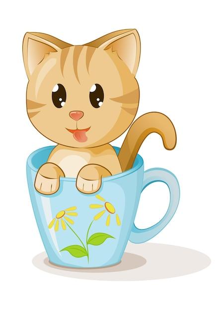 Gattino sveglio in bianco del fumetto del caffè della tazza Vettore Premium