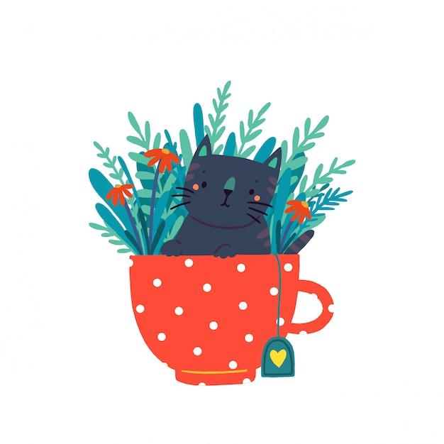 Un simpatico gattino si siede in una tazza circondato da fiori e foglie. Vettore Premium
