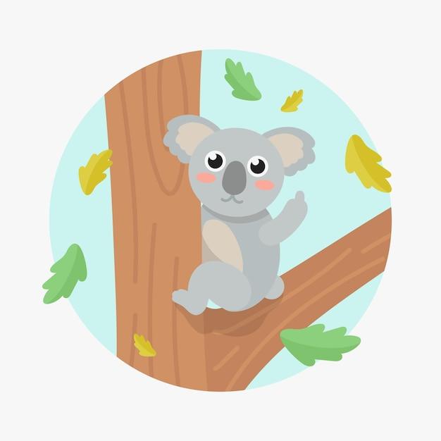 Simpatico orso koala che mostra vaffanculo simbolo Vettore Premium
