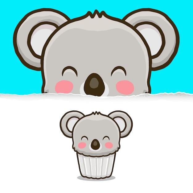 Cupcake koala carino, disegno del personaggio animale. Vettore Premium