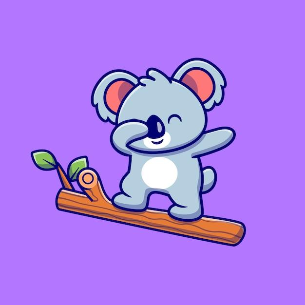 Koala carino tamponando sul fumetto albero. natura animale icona concetto isolato. stile cartone animato piatto Vettore Premium