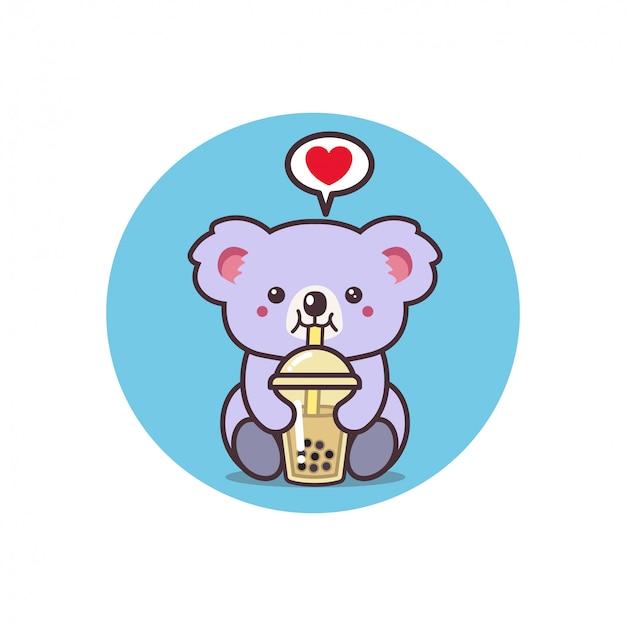 Koala carino bere il tè Vettore Premium