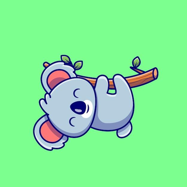 Koala sveglio che appende sul fumetto dell'albero. natura animale icona concetto isolato. stile cartone animato piatto Vettore Premium