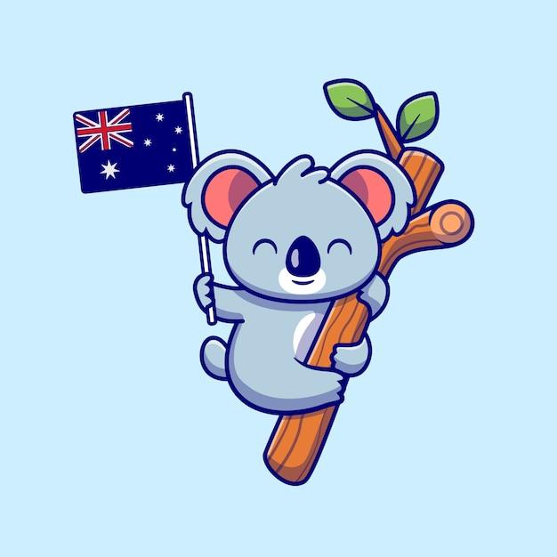 Koala sveglio che appende sull'albero e che tiene l'illustrazione dell'icona del fumetto della bandiera australiana. natura animale icona concetto isolato. stile cartone animato piatto Vettore Premium
